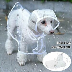 ❤Waterproof Dog Puppy Rain Coat Outdoor Jacket Pet Raincoat Hooded Clear Clothes