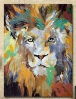 CULOP403 hand painted multi-color lion animal oil painting on canvas home art