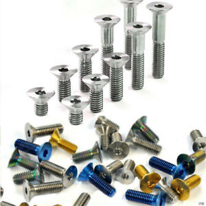 10pcs Titanium Countersunk Screws Bolts M6x10/15/20/25/30/35mm Flat Head