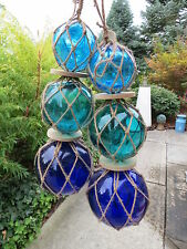 "Two 3""4""5"" Blues Colors Trio Curio Glass Floats Balls Buoys Bouys"