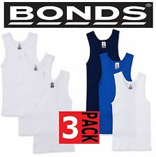 BONDS BOYS KIDS 3 PACK CHESTY COTTON BLUE BLACK WHITE SINGLETS  3 4 6 8 10 12 14