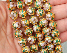 10 VINTAGE CHINESE ROUND GOLD CLOISONNE BEADS 12mm