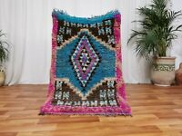 Moroccan Handmade Wool Rug - Bohemian Beni ourain Rug 2'8x4'5 Berber Tribal Art