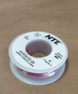 ( 25 FT Spool ) NTE WHS26-02-25 ( 26 AWG ) Solid Hook Up Wire 300V ( Red ) ROHS
