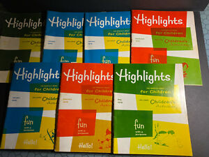 HIGHLIGHTS - The Monthly Book for Children -Vintage 1972-75, Lot of 7,Homeschool