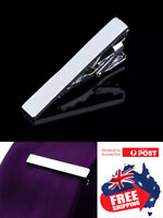 Mens Silver PVD Steel Simple 4cm Skinny Slim Tie Clip Clasp Wedding 1pc