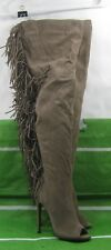"""new Taupe 5""""Stiletto High Heel peep Toe Back Frill Over Knee Sexy Boot Size 8"""