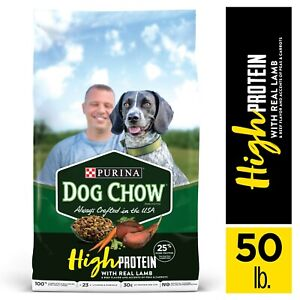Purina Dog Chow High Protein Dry Dog Food, High Protein Recipe, Real Lamb 50 lb