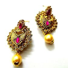 Golden Oxidized Rhinestone Earrings Ethnic Imitation Jewelry Dangle Drop EA20