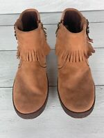 Ugg Women's 7 Chestnut Brown Leather Fringe Tiana Ankle Boots Booties Moccasins