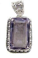 süßes Amethyst 925 Sterling Silber lila Anhänger echten Edelstein de Geschenk