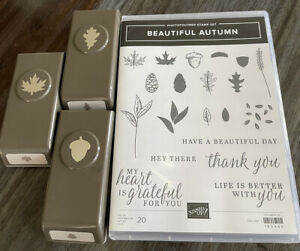 Stampin Up Beautiful Autumn Stamp Set With Coordinating Leaves And Acorn Punch