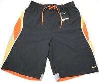 NWT $54 NIKE Mens Swim Suit Trunks Dark Grey Orange Swoosh NEW Gray Sheds Water