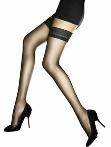 Ultra Sheer Lace Top Hold Up Stockings Edith 8 Denier Matte Finish Hosiery Nylon