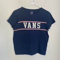 Vans Spellout Short Sleeve Tee Graphic Logo Crew Neck Basic Cropped Sz M