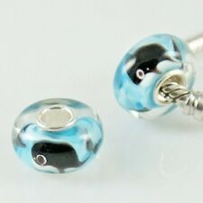 925 Sterling Silver Core, Murano Lampwork Glass Whale Charm Bead