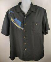 Hook & Tackle Hawaiian Camp Black Shirt Mens Large Embroidered Marlins Swimming