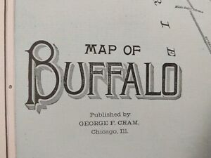"Vintage 1902 BUFFALO NEW YORK Map 14""x22"" ~ Old Antique Original SOUTH PARK NY"