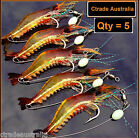 5 x GLOW Rigged Prawn lure soft plastics Bream Flathead whiting bass Jewfish