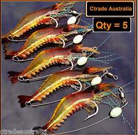 5 x GLOW Rigged Prawn lure soft plastics Bream Flathead whiting bass Jewfish