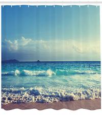 Tropical Island Decor Ocean Waves Beach in Sunset Time Extra Long Shower Curtain