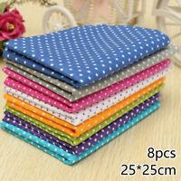 8pcs DIY Pre-Cut Fat Quarters Bundle Charm Cotton Quilt Fabric Craft Assorted