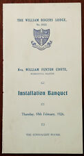 The William Rogers Lodge No.2823 Installation Banquet Tuesday 18th Feb 1926 card