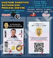 CUSTOM PVC ID Card w/ Clip  CUSTOM AUTHORIZED PROCESS SERVER ID CARD