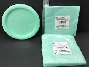Mint Green Birthday Party Lot 1 Pack Plates & 12 packs Napkins