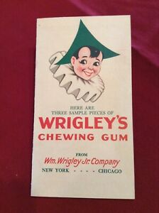 Vintage Wrigley's Chewing Gum Three Sample Pieces Advertising Brochure