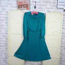 vintage green 80s tea dress IN THE MOOD silky polyester pleated size M D613