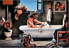"Western Themed Postcard, Lon Megaree   ""Cowboys Saturday Night"". pb30"