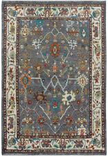 Geometric Floral Oushak Turkish Oriental Area Rug Vegetable Dye Hand-Knotted 5x7