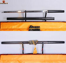 HANDMADE JAPANESE SHIRASAYA NINJA SWORD FULL TANG BATTLE SHARP BLADE EBONY SAYA