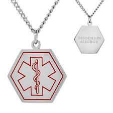 "PENICILLIN ALLERGY Stainless Steel Medical Hexagon Shape Pendant, 30"" Curb Chain"