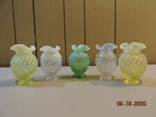 5 Fenton opalescent hobnail tri-top vases in mint condition