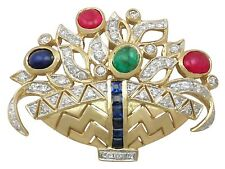 Vintage Diamond, Ruby Sapphire and Emerald 18Carat Yellow Gold Spray Brooch