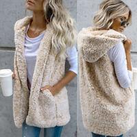 NEW Womens Winter Faux Fur Waistcoat Jacket Coat Sleeveless Vest Outwear Hoodie