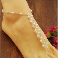 Bridal Jewelry + Free Gift Bag Pearl Barefoot Sandal Anklet Bracelet Foot Chain