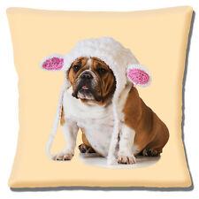 "English Bulldog 16""x16"" 40cm Cushion Cover Photo Print White Pink Hat on Cream"