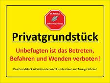 Privatgrundstück - Videoüberwachung - ALU- PVC-Schild oder Klebeschild, 3 Größen