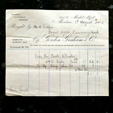 Whisky Receipt For The Royal Hotel Laurencekirk Scotland - 8th August 1902