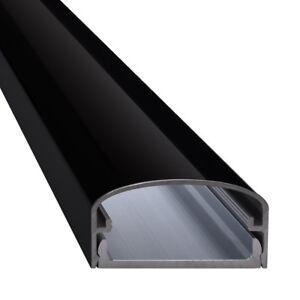 Design TV Alu Kabelkanal Aluminium Klavierlackoptik schwarz - Modell Big Mouth