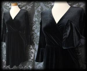 Gothic Jet Black Velvet RECKLESS ABANDON Wrap Over Dress 6 8 Witchy Alternative