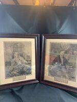 2 Vintage Walter Dendy Sadler Etching Prints, Etched W.H. Boucher Matched Pair