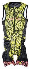 Panache Men Sleeveless Aero Triathlon Speedsuit SMALL Black Yellow Tri Race Zip