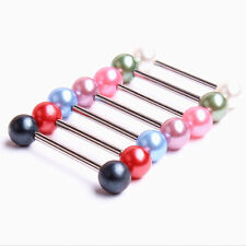 7pc 14G Surgical Steel + Pearl Mixed Color Barbell Bar Tongue Ring Stud Piercing