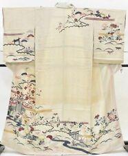 Japanese Kimono Vintage Houmongi Silk 61inc. Antique (kimonomtfuji) 3nfuji32658