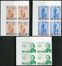 LIBERIA  ABE LINCOLN CENTENNIAL MEMORIAL W/JOHN F. KENNEDY IMPF BLOCKS MINT NH