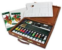 26 Pezzi Artista Deluxe Colorato Olio Colore Pittura Tubi IN Legno Custodia Set